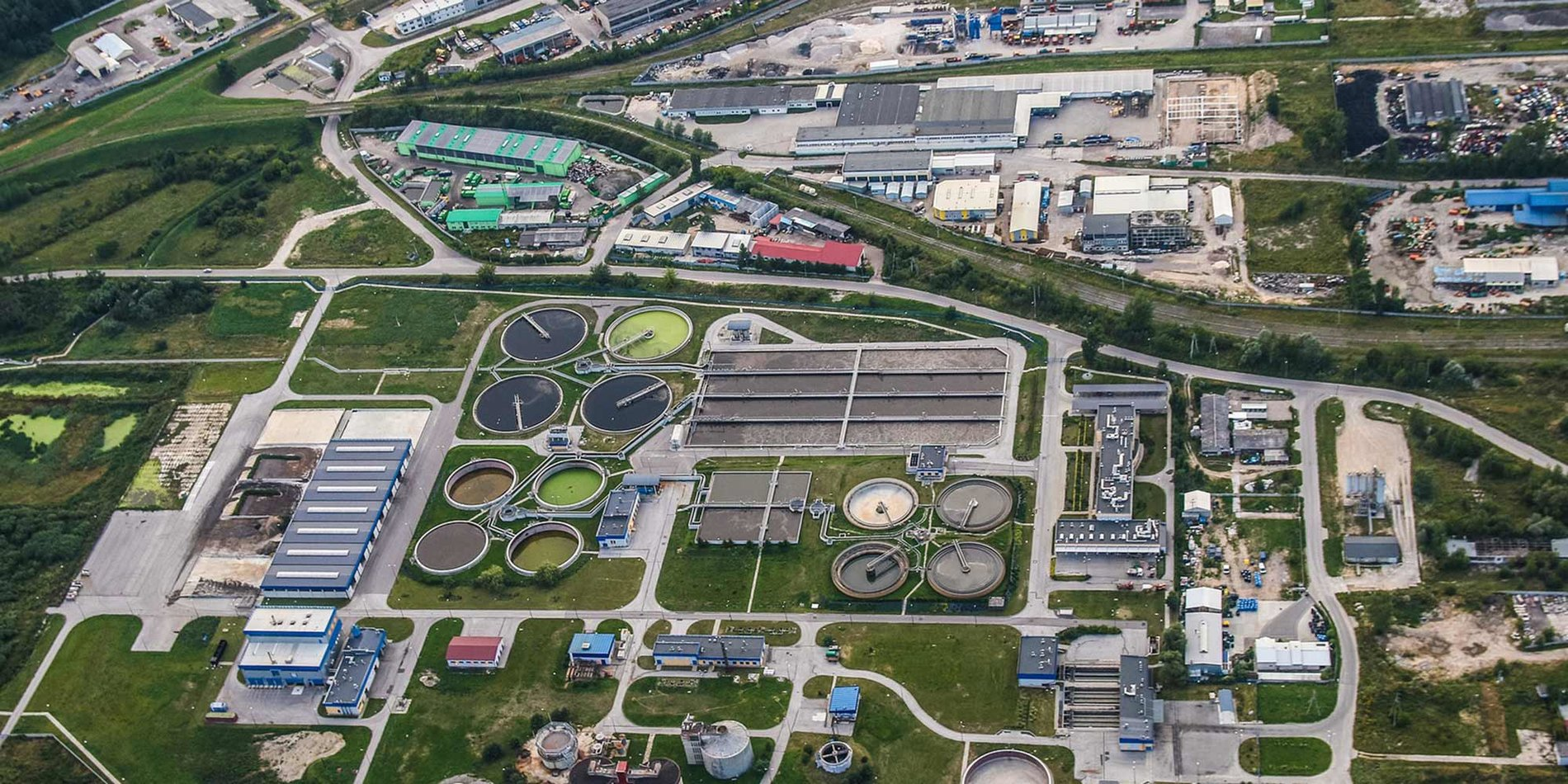 an aerial view of a desalination plant