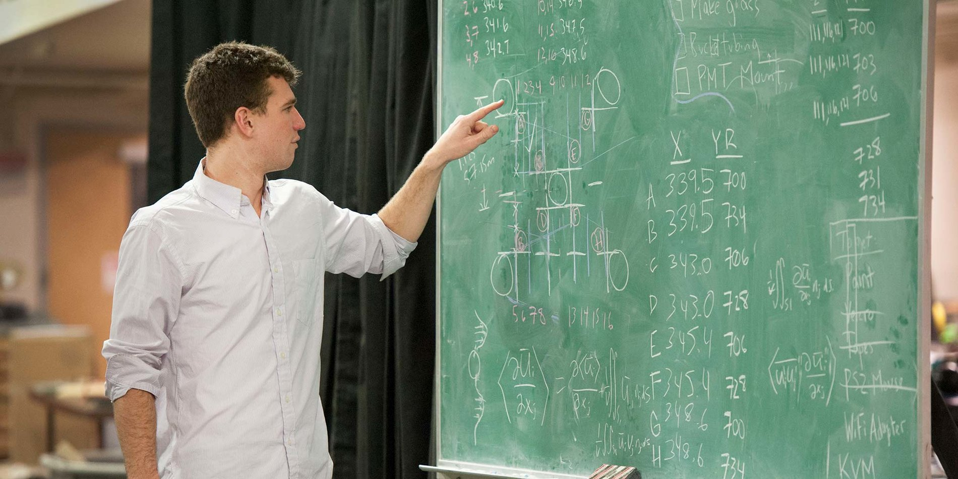 a male student pointing at a green chalkboard with writing all over it