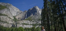 Susan Andaloro of Calabasas, Calif., looks over Yosemite Valley on Thursday, June 11, 2020.